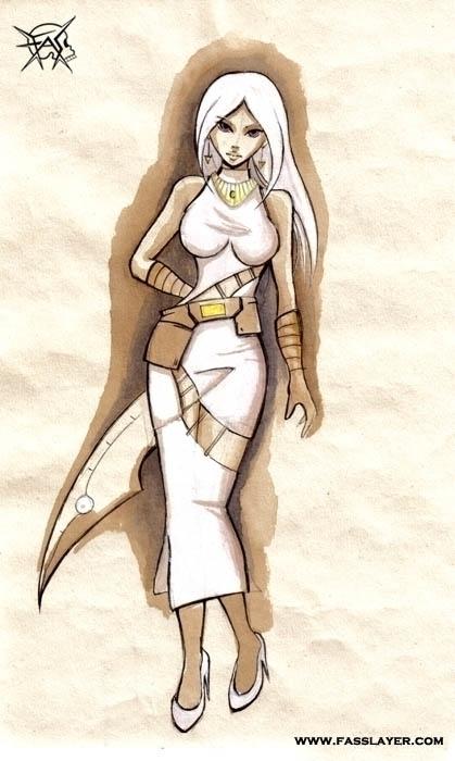 Assassin lady. Watercolor - illustration - fasslayer   ello