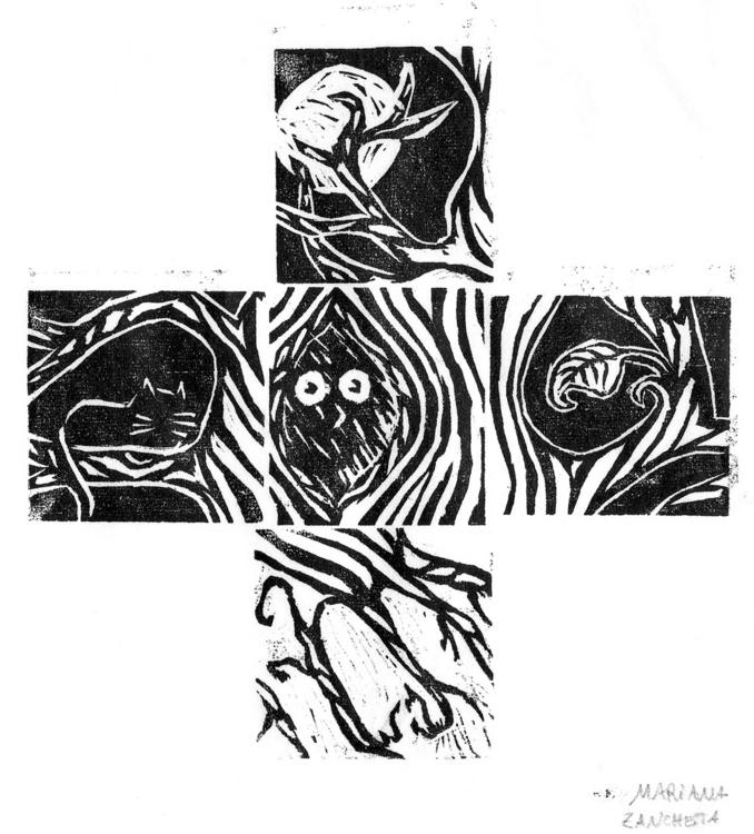 minis - woodcut, illustration, print - marianazancheta   ello
