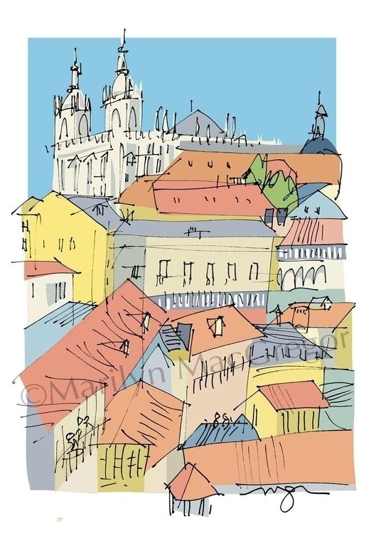 Lisbon - Hill View fine art pri - macgregorart | ello