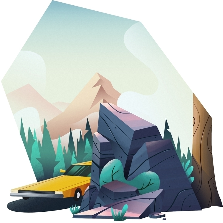 Roadtrip - illustration, camping - maximebourgeois | ello