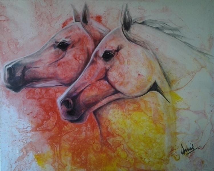 painting, colors, horses, arabian - conniemullerarte | ello