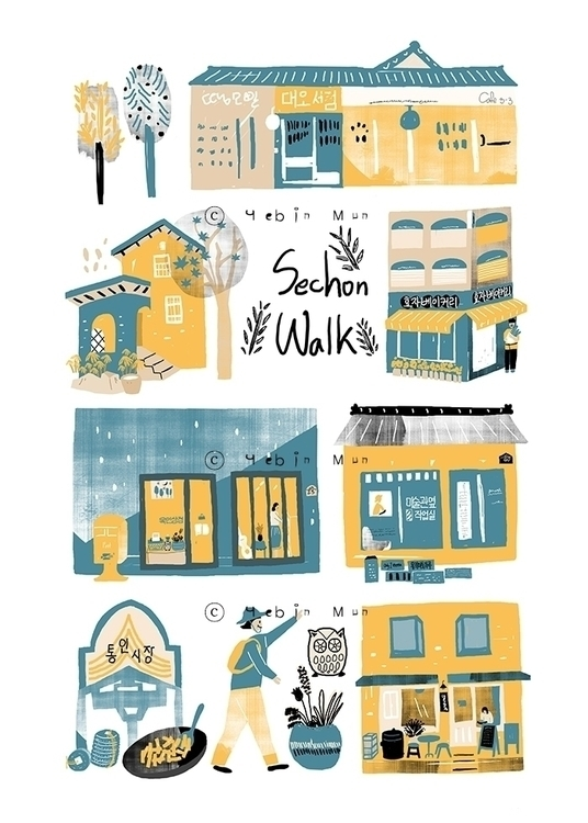 Sechon Walk - illustration, painting - yebin | ello
