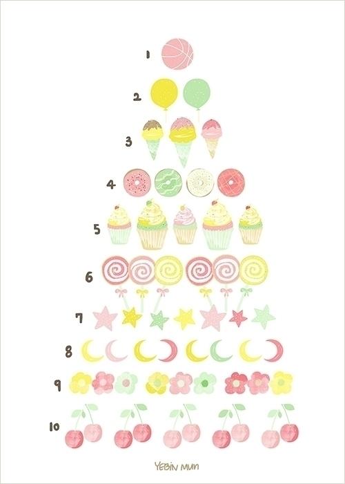 1,2,3 number chart - painting, illustration - yebin | ello