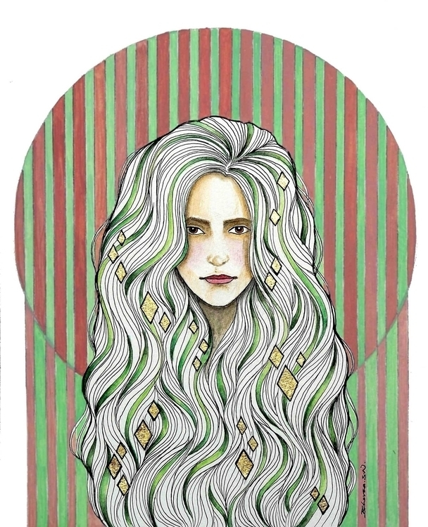 Zella - lady, illustration, goldleaf - bhavanasn | ello