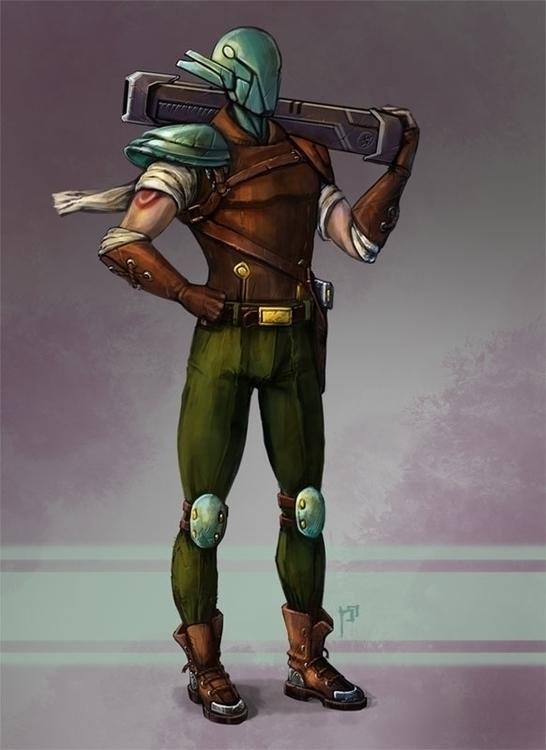 Mercenary - characterdesign, character - tieller | ello