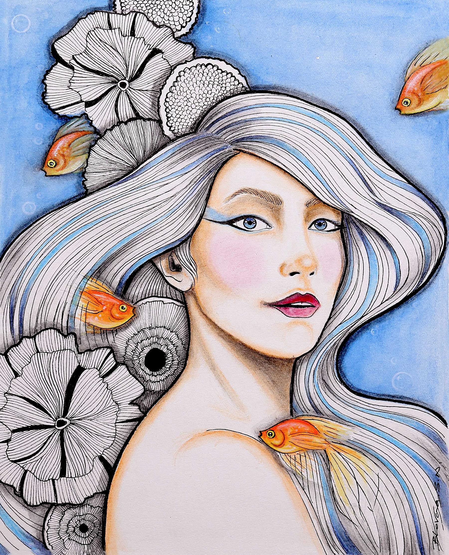 Aqua - lady, underwater, sea, goldfish - bhavanasn | ello