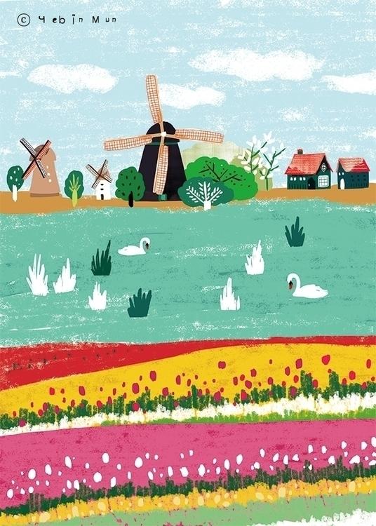 Netherlands,Holland - illustration - yebin | ello