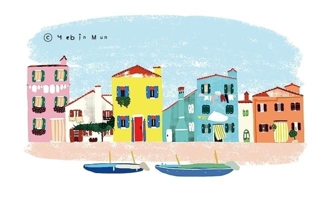 burano, Italy - illustration, painting - yebin | ello
