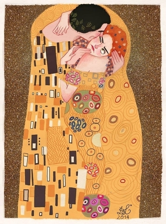 Kiss - illustration, painting, gustaveklimt - dixieleota | ello
