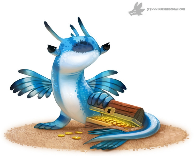 Daily Paint 'Blue Dragon real a - piperthibodeau | ello