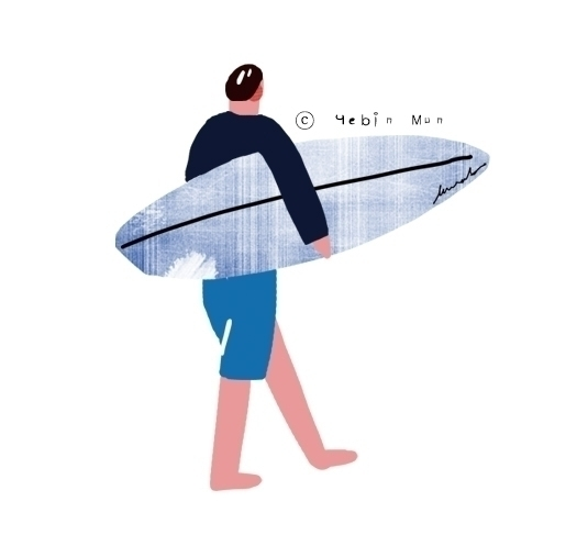 Summer surfing - illustration, painting - yebin | ello