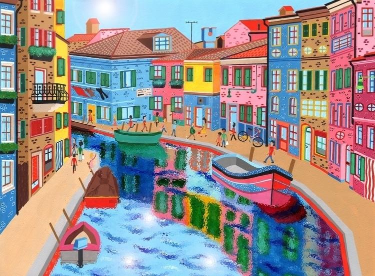 Burano, Northern Italy - italy, painting - mohanballard | ello