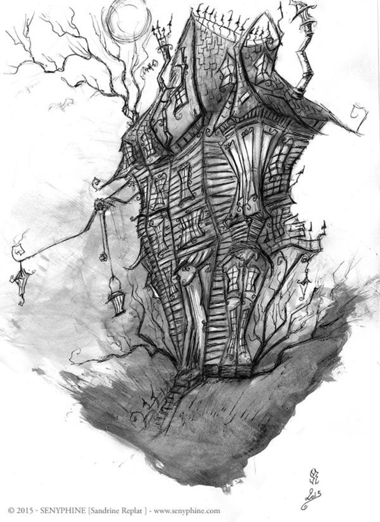 Twisted house. Rough sketch. In - senyphine | ello