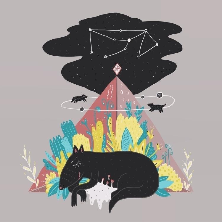 lupus dreaming - illustration, drawing - natalieveryb   ello