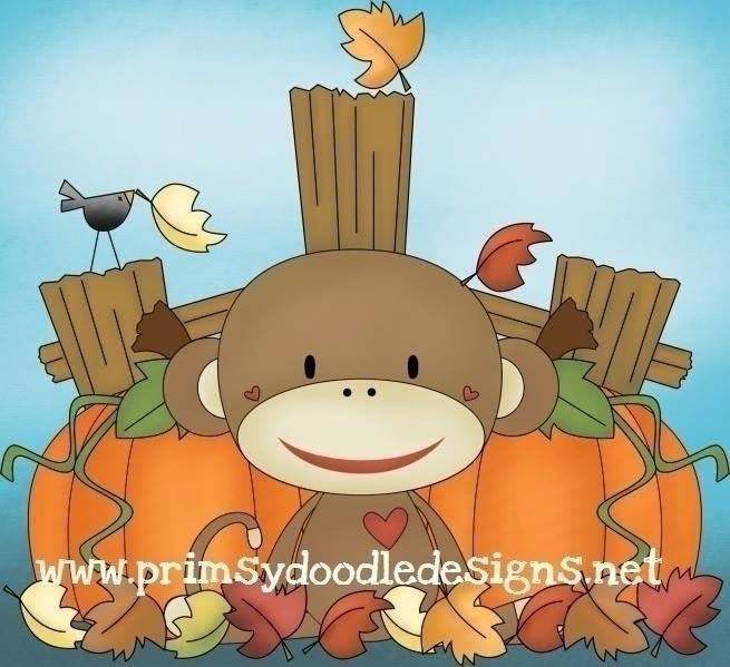 Fall Sock Monkey - illustration - lisacraig | ello