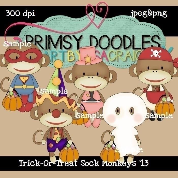 Halloween Sock Monkeys - illustration - lisacraig | ello