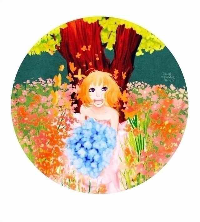 Girl Garden - flowers, garden, butterflies - fairyjelly | ello