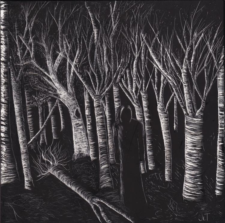 Forest Nightmare - scratchboard - jtiedemann | ello