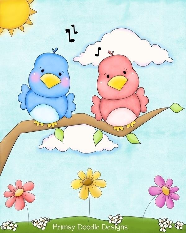 Spring Birds Flag - illustration - lisacraig | ello
