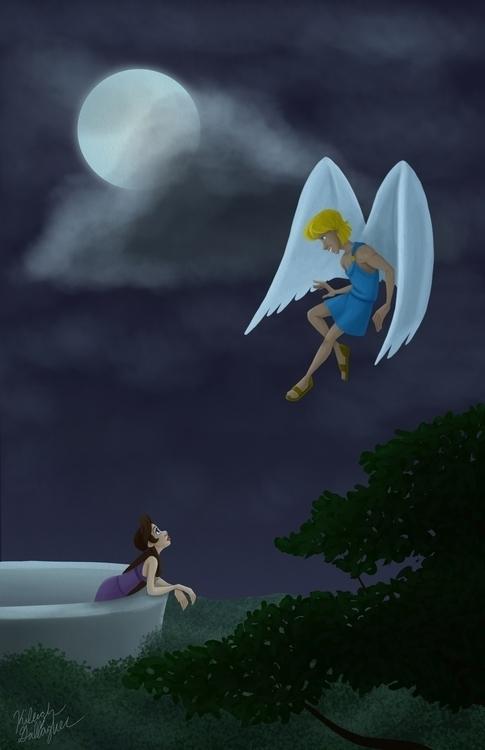 Cupid Psyche Moonlight - illustration - gallagirl | ello