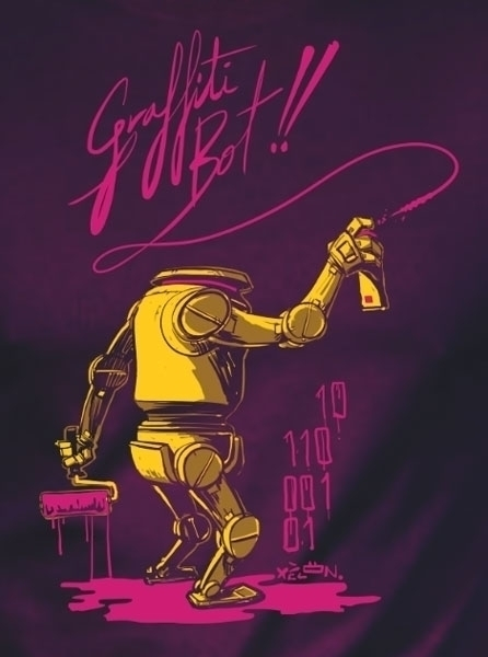 Graffiti Bot! Design - robot, robots - xelonxlf | ello
