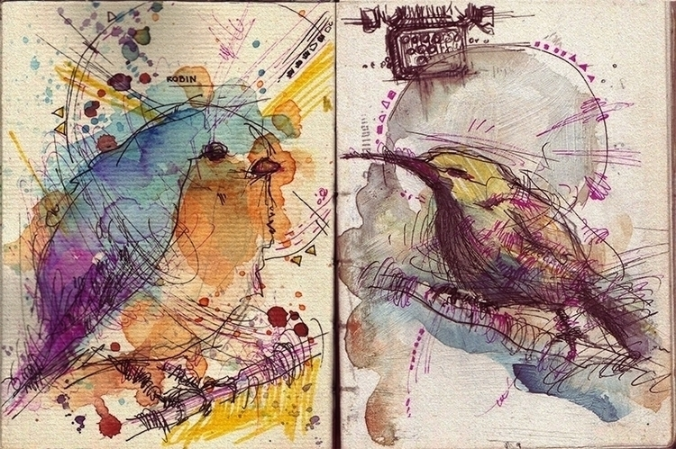 illustration, birds, colorful - marinaveselinovic | ello