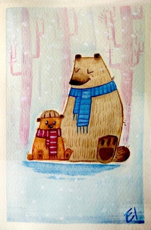 watercolor, bears, children'sillustration - el0394 | ello