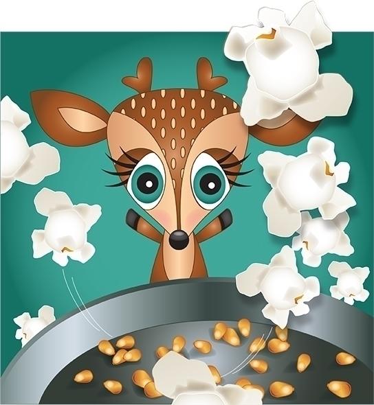 Deer - popcorn, deer, ohdeer, illustration - kvoerg | ello