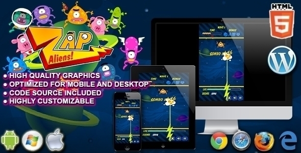 Zap Aliens HTML5 Arcade Game. T - codethislab | ello