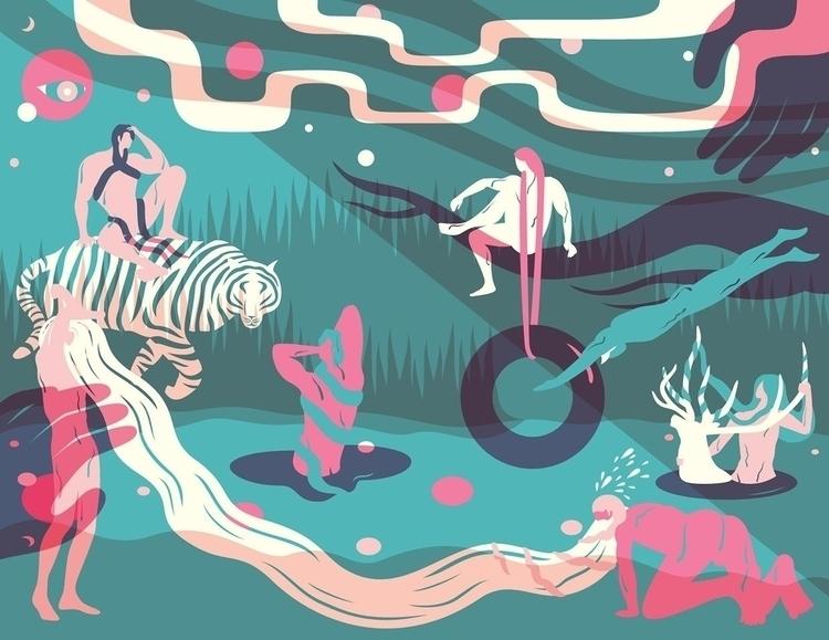 Summer Night, River Side - tiger - noonmoon | ello