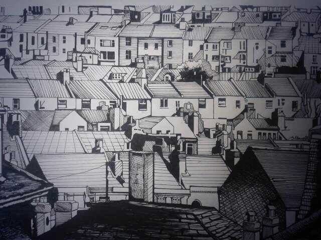 blackandwhite, cityscape, pen - brionyhowellart | ello