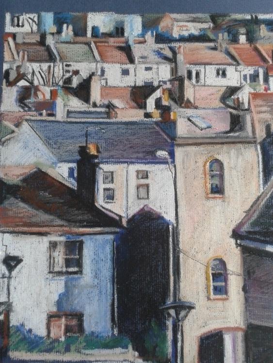 Cityscape oil pastel drawing - cityscape - brionyhowellart | ello