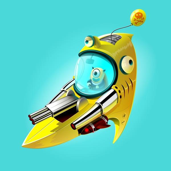Spaceship 1 - spaceship, monster - estince | ello
