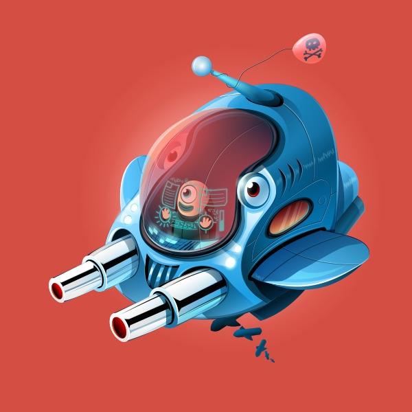 Spaceship 2 - spaceship, monster - estince | ello