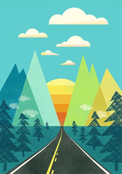 long road - travel, geometric, sun - jennytiffany | ello