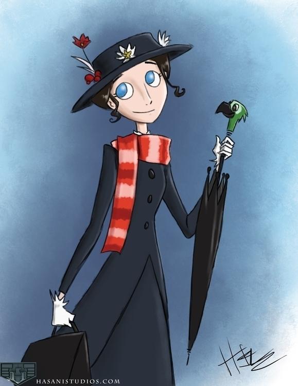 Mary Poppins - Illustration, MaryPoppins - hasaniwalker | ello