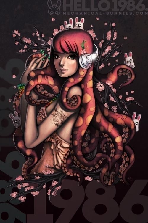 1986 - octopus, octogirl, monstergirl - mechbunnies | ello