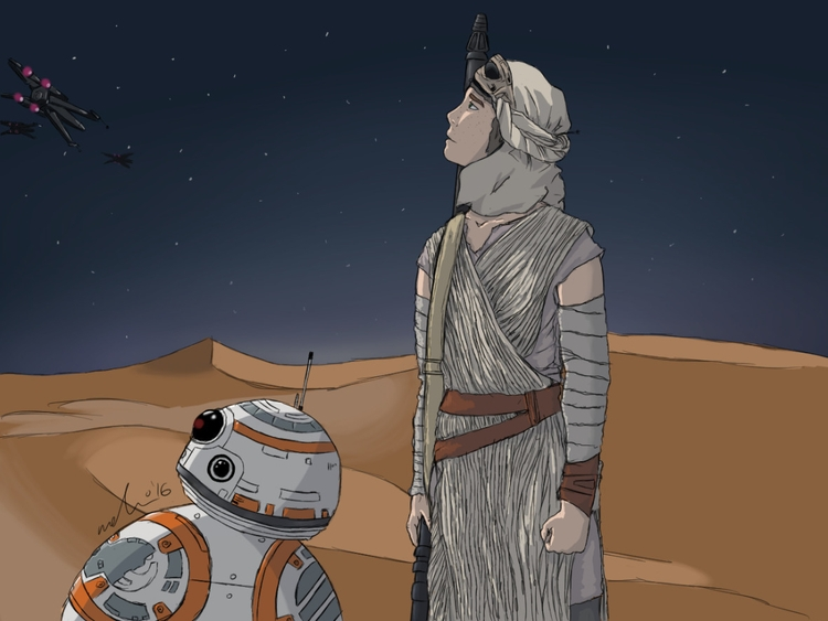 Force Awakens - Rey BB-8 - illustration - mercury221 | ello
