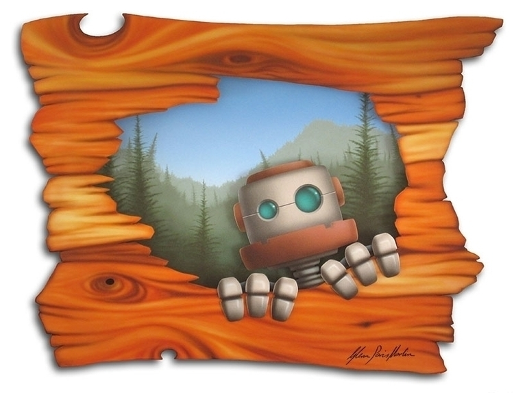 Curious Bot - Woody Acrylic Ink - bunyepcreations | ello