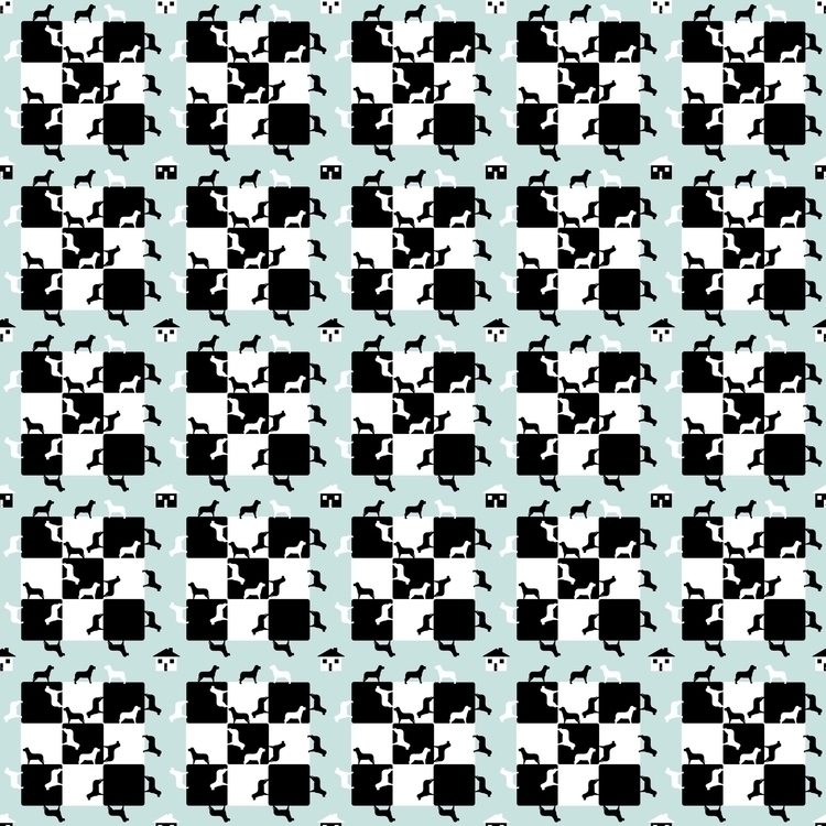 Homes Dogs, blue - patterndesign - fatimaongleo | ello