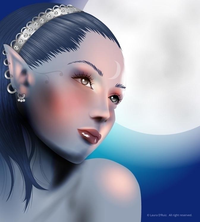 illustration, elf, portrait, vector - laudruiz | ello
