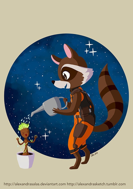 Groot Rocket Raccoon - gotg, rocketraccoon - alexandrasketch | ello