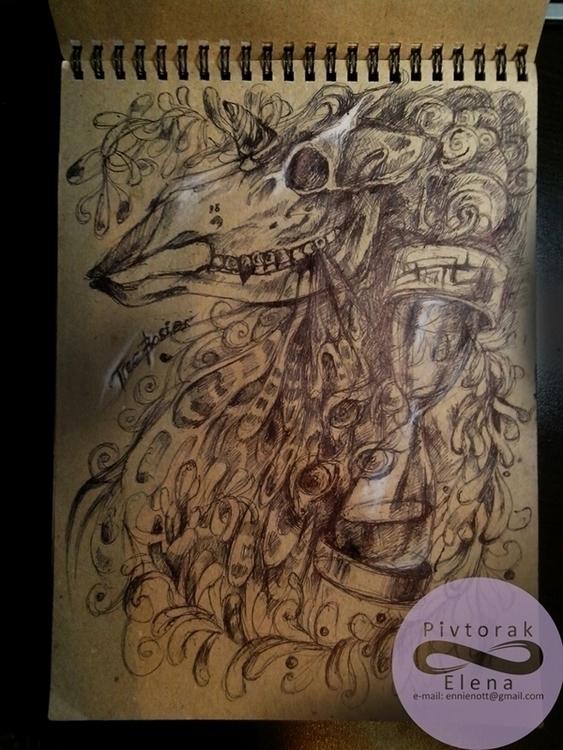 paper, black pen, pastel chalk - victorovna | ello