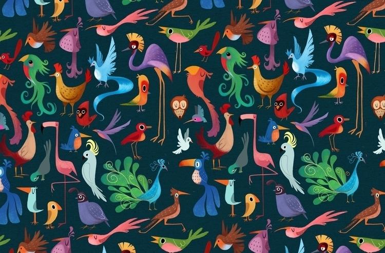 Bird pattern - birds, design, illustration - ashleyodell | ello