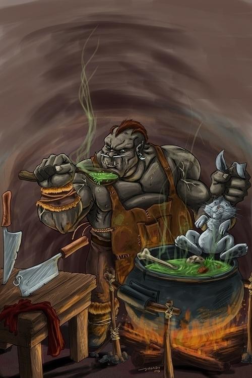 Orc cooking - orc, cook, fantasyart - daborien | ello