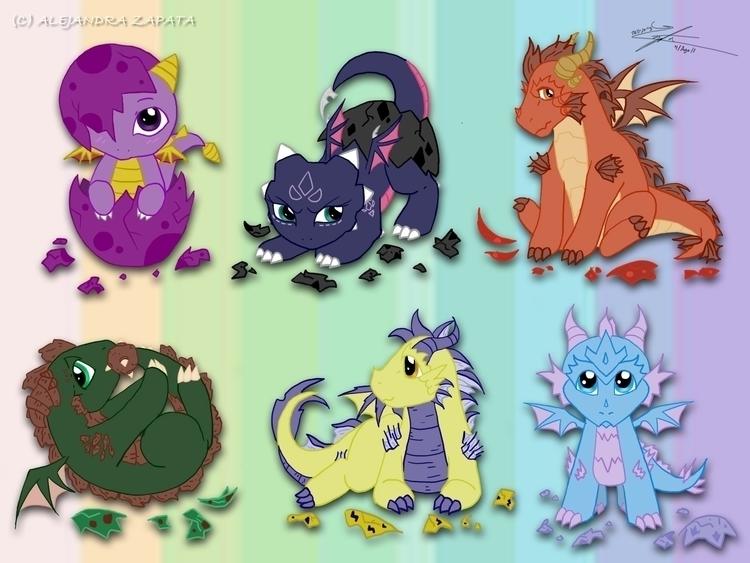 spyrothedragon, dragon, babies - alezart | ello
