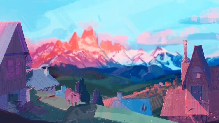 layout, landscape, painting, mountains - cloodiedraws | ello