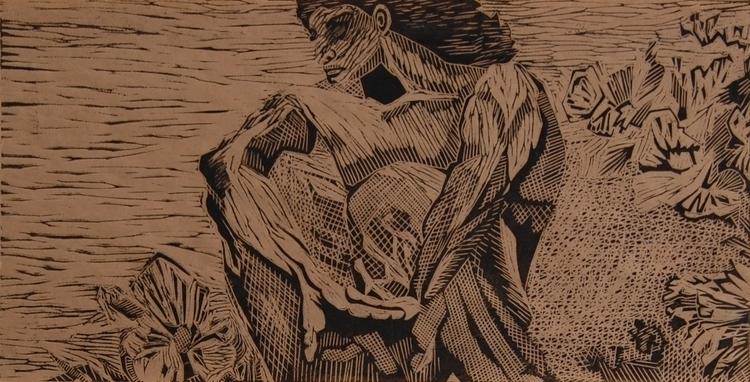 Demon - 1, illustration, linocut - olga_msk | ello