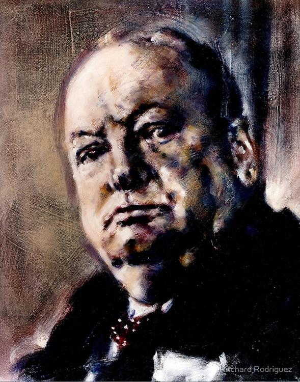 Portrait Winston Churchill, oil - ritchard27 | ello