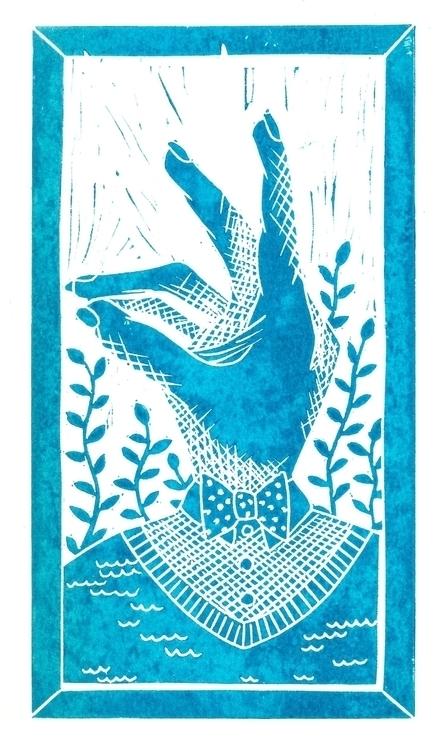 Rabbit - illustration, linocut, blue - olga_msk | ello